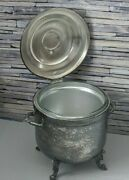 Vintage Silver On Copper Ice Bucket Footed W/ 2 Qt Pyrex Glass Liner Hinged Lid