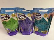 New Lot Of 3- 2 Lb Bags Of Kinetic Sand Green Purple Teal Turquoise