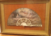 Fan-french Carved Mother Of Pearl With Gold Inlaids Collectors Piece 1800andrsquos
