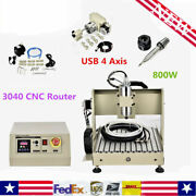 Usb 800w Vfd 4 Axis Cnc 3040 Router Engraver Drill Mill Carving Cutter Machine