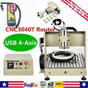 Usb 4 Axis 800w Vfd Cnc 3040t Router Engraving Wood Metal Cutter Machine W/ Rc