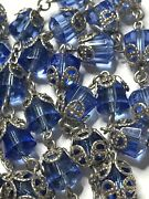 † Heavy Vintage Sterling Blue Crystal Filigree Capped Rosary Necklace 34 1/2 †
