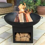 Harrier Large Outdoor Fire Pit   Built-in Log Storage   Yard Fire Pit Bowl