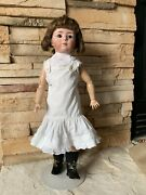 """Closed Mouth 7246 Gebruder Heubach Pouty Faced Antique Bisque Head Doll 18.5"""""""