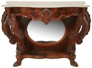 19877 Marble Top Console Table With Swans