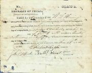 Republic Of Texas / Certifying W.l Heningand039s Rights To 1280 Acres Of Land In San