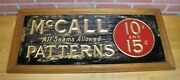 Mccall Patterns 10c 15c Antique Reverse On Glass Advertising Sign Wooden Frame