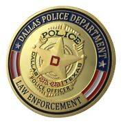 U.s. United States   Dallas Police Department Law Enforcement   Gold Plated Coin