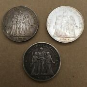 France Republic 5 Francs Silver Coins 1874-k, 1875-a, And 1876-a, Group Lot Of 3