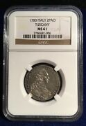 Italy Tuscany 1780 2 Paoli 16 Crazie Uncirculated And Rare Certified Ngc Ms61