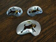 Zodiac Aries Bj Mexico Faux Tortoise Shell Abalone Sterling Brooch And Earrings