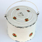 Vintage Child's Tin Berry Bucket Round Lunch Pail With Bale Handle
