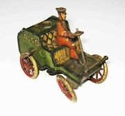 C1913 Lehmann Germany Made Also 700 Tin Litho'd Wind-up Toy Car And Driver