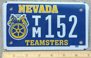 Nv Nevada Motorcycle License Plate Tag 152 - Teamsters - Mint Nos