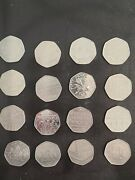 16 X Very Rare 50p Coins Including The Battle Of Hastings And The Battle Of...