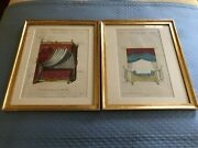 Pair Of Antique Architectural Prints Hand Colored Matted And Framed.