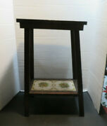 Mid Century Modern Italian Tile Tiered Wood Wooden Plant Stand/occasional Table