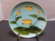 Antique Schramberg Smf German Majolica Pottery Plate Yellow Lily Pad C.1920