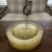 Lot Of 7 Vintage Yellow Depression Glass Divided Dinner/charger Plates Evc