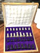 Marble Stone Unique Hand Carved Chess Set Portable Board Storage Box 12x12