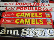 Camel Cigarette 2 Tin Signs Smoke Camels 40s-50s With Picture Of Pack Exc 855b