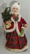 Mrs. Santa Claus In Plaid Tree And Stocking Christmas Large 18 Decor Gerson