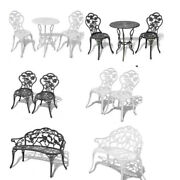 1/2/3 Patio Bistro Furniture Set Outdoor Garden Iron Table Chair Bench Chairs Us