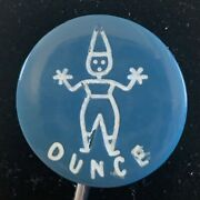 3 Vintage Blue Casein First Reader Dunce And Sis Buttons School Days Set