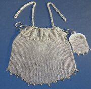 Sterling Silver Chain-mail Mesh Handbag Purse Antique Victorian Valed @ 850