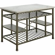 Acme Lanzo Kitchen Island Counter Marble And Antique Pewter