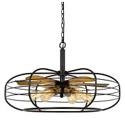Circular Cage Design Metal Chandelier With Fan Blade Accent, Black