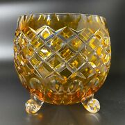 Vintage Bohemian Cut To Clear Amber Glass Footed Bowl Console Vase Diamond Cut