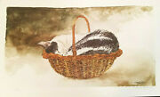 Theda Tara Richards - Cat In Basket - Lithograph Signed And Numbered 51 Of 350