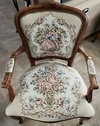 Vintage French Louis Xv Style Floral Tapestry Chair Chateau D'ax Made In Italy