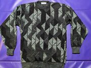 Area By Tag Mens 2xlt Tall Sweater Vtg Usa 1980s Acrylic Black Turquoise Coogi