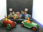 Rare 1932 -1933 Tootsietoy Funnies Lot Ko Gump Mullins Uncle Walt With Gas Pumps