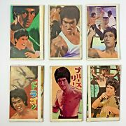 And039 Bruce Lee And039 李小龍 Vintage Rare Trading Cards Super Rare Menko 6-piece Set