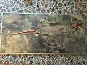 Vintage Channel Tunnel Route Display Aerial Study Map. Dollands Moor. 34 X 17