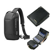 Anti-theft Sling Backpack Menand039s Usb Chest Bag Waterproof Travel Hiking Daypack