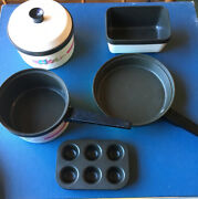 Vintage Toy Child Play Chilton Pots Pans Muffin Loaf Pan Kitchenware 6 Piece Set