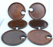 6 Pottery Barn Mingling Plates Solid Wood Wooden Indentation Hole For Wine Glass