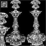 Antique French Sterling Silver Candlesticks Pair, 122