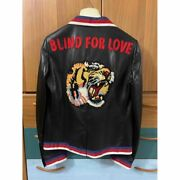 Leather Tiger Embroidered Lamb Skin Jacket It 44 Nwt