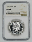 1967 Sms Kennedy Half Dollar 50c Ngc Certified Ms 68 Mint State Unc 001