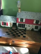 Vintage Marx Litho Tin Metal 2 Story Doll House Breezeway Stairs - No Doorbell