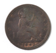 1860 Great Britain Penny Bronze Coin Km 749.2 Toothed/beaded Border Freeman 9