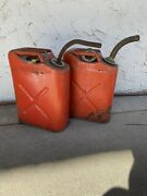 Two Vintage 5 Gal. Red Gas Can Fuel Jerry Jeep Truck Military