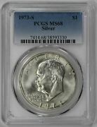 1973 S Eisenhower Ike Dollar 1 Pcgs Certified Ms 68 Mint State Silver 330