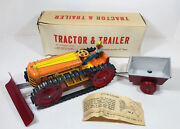 Vintage Marx 1950andrsquos Climbing Tractor And Trailer Wind Up Tin Toy Original Box