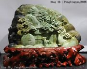 10 Chinese Natural Dushan Jade Mountain Forest Pavilion Tower Landscape Statue